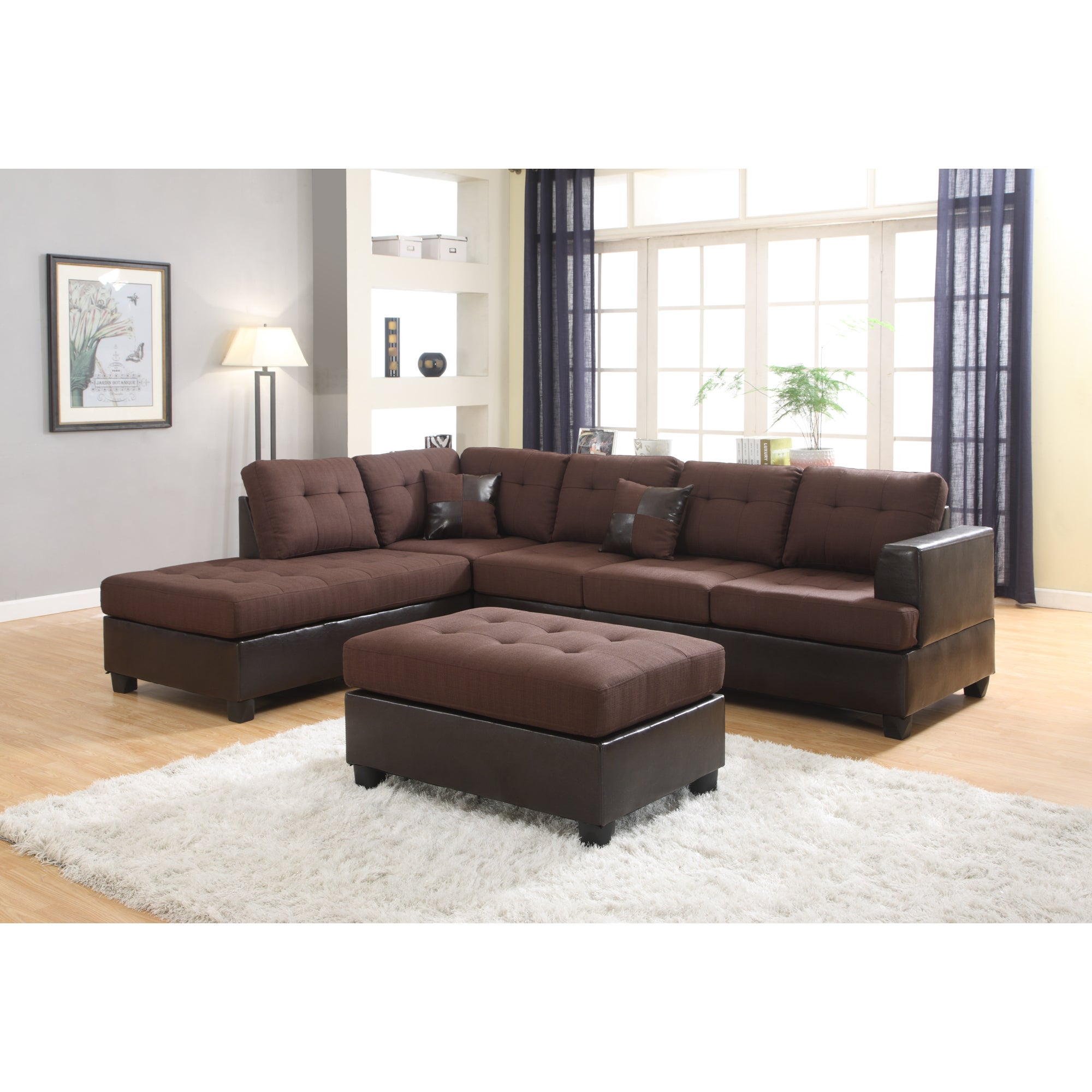 Ellus Fabric and Faux Leather 3 Piece Reversible Sectiona...