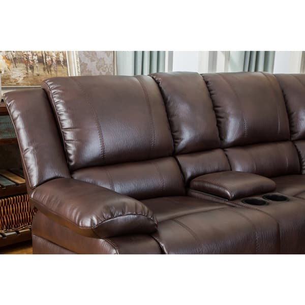 Shop Juno Brown Air-Leather Sectional Reclining Sofa with ...