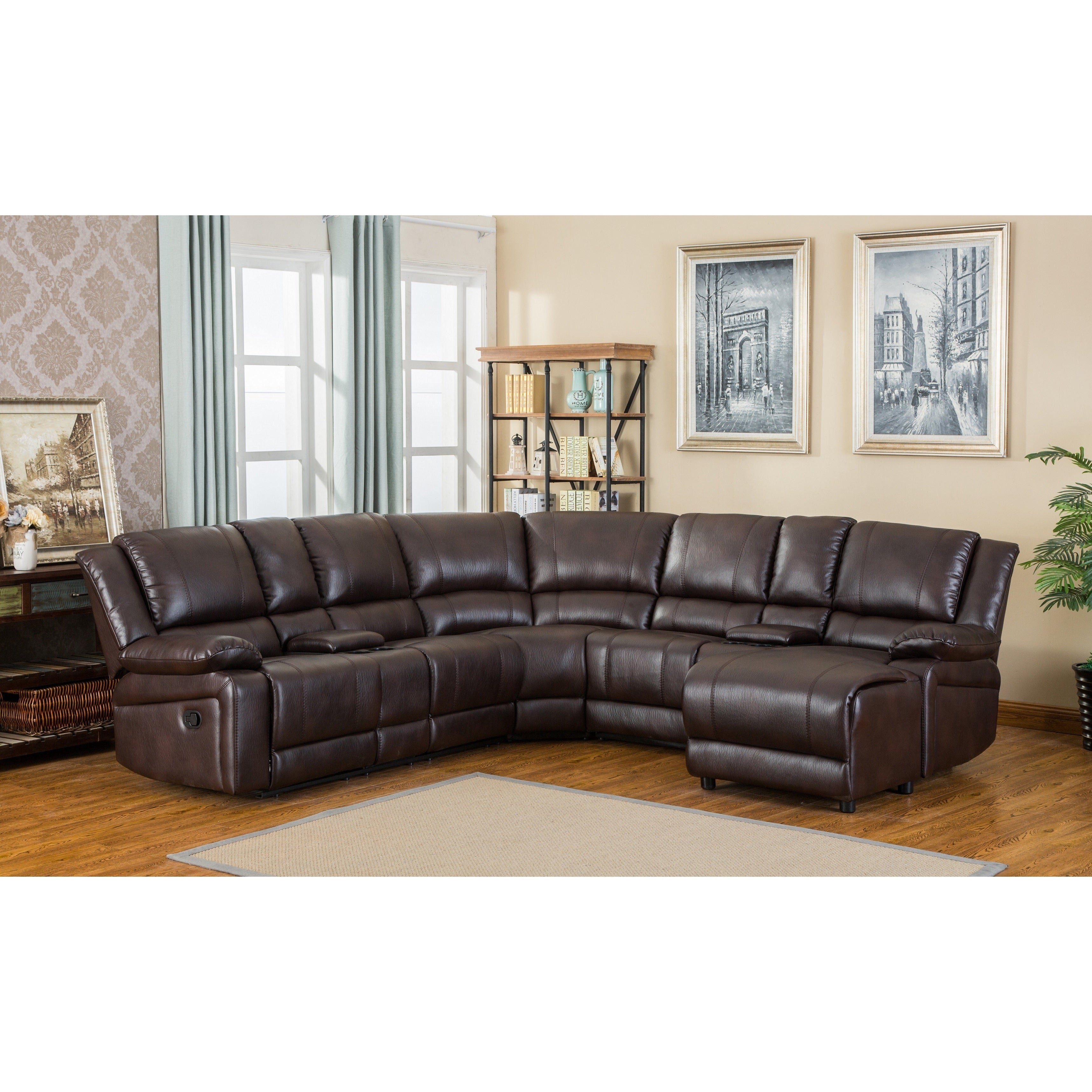 Juno Brown Air-Leather Sectional Reclining Sofa with Cons...