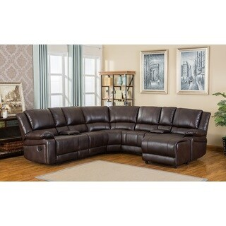 Juno Brown Air-Leather Sectional Reclining Sofa with Console