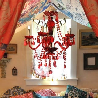 Tracy Porter Royal Rojo Poetic Wanderlust Red Crystal Cordless Remote Control LED Cascading Chandelier
