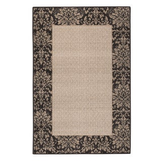 Chocolate Damask-weave Accent Rug (1'8 x 2'10)