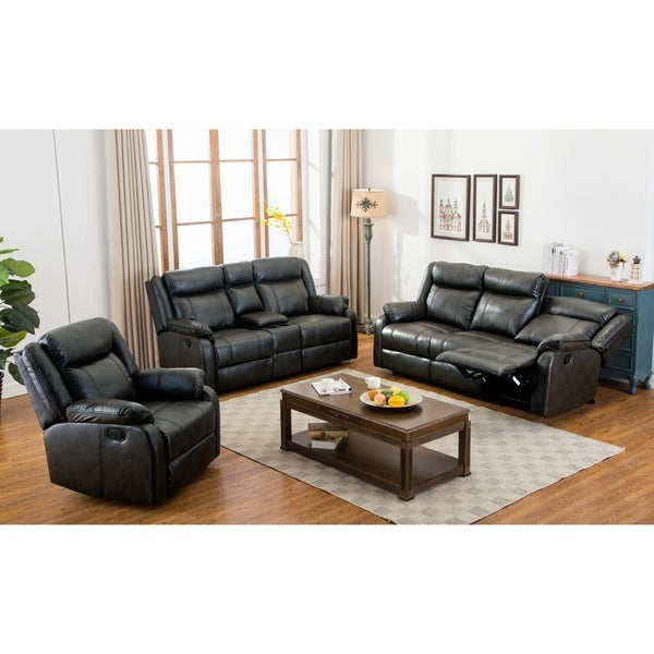 Air O Sofa: Shop Novia 3 Piece Leather-Air Double Recling Sofa And