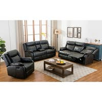 Novia 3 Piece Leather-Air Double Recling Sofa and Loveseat and Recliner Chair