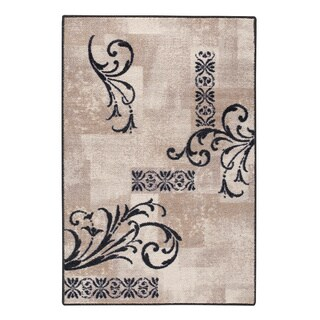 Black Delicate Scroll Accent Rug (30 x 46)