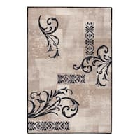 Black Delicate Scroll Accent Rug