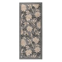 Floral Spring Grey Nylon Accent Rug (22 x 60)