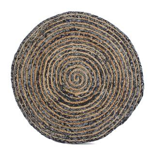 """TAG Handwoven Denim Jute Round Rug (36"""" Round)"""