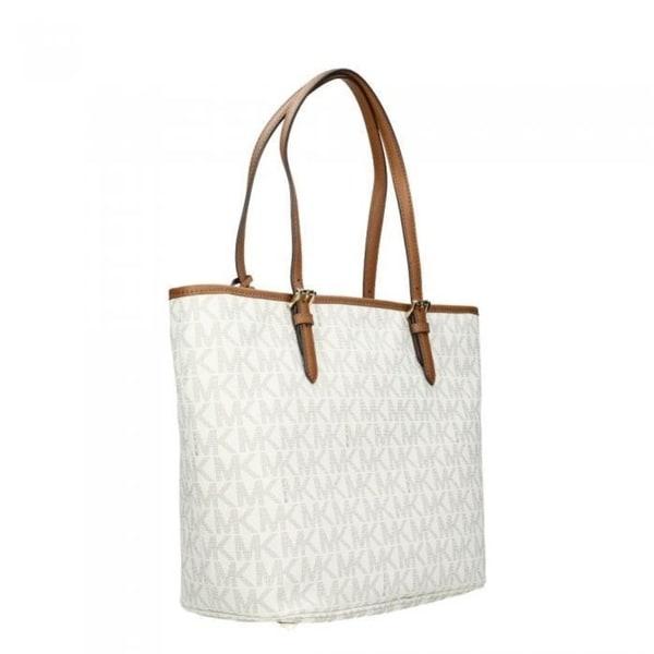 5146ebb15e1d ... get michael kors jet set vanilla signature large snap pocket tote bag  off white 7f338 41174 free shipping ...