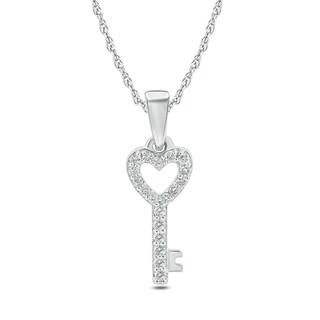 10k White Gold 1/10ct TDW Diamond Key To My Heart Pendant (H-I, I1-I2) - White H-I