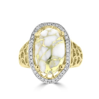 La Vita Vital 14k Yellow Gold, Gold Quartz and 1/4ct TDW Diamond Ring