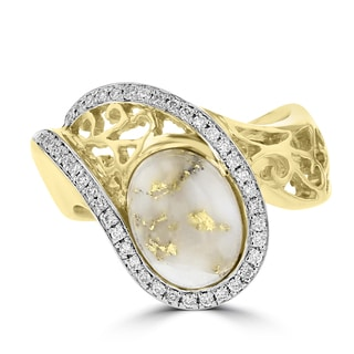La Vita Vital 14k Yellow Gold, Gold Quartz and 1/5ct TDW White Diamond Ring