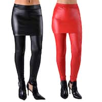 Dinamint Faux Leather Liquid Look Stretchy and Fun Skirt Leggings (Pack of 2)