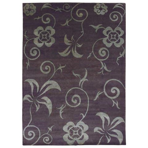 FineRugCollection Handmade Nepali Modern Brown/Blue-Green Oriental Rug (10' x 13'10)