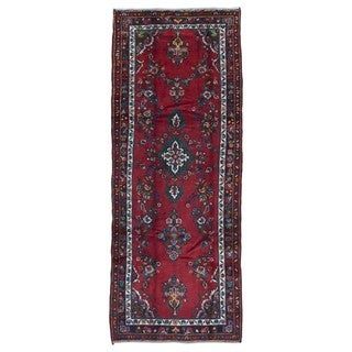 FineRugCollection Handmade Semi-Antique Persian Hamadan Red Oriental Runner (3'11 x 10'1)