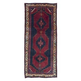 FineRugCollection Handmade Semi-Antique Persian Hamadan Red Oriental Runner (4'1 x 9'7)
