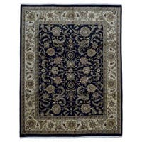 FineRugCollection Handmade Very Fine Tabriz Black Oriental Wool Rug
