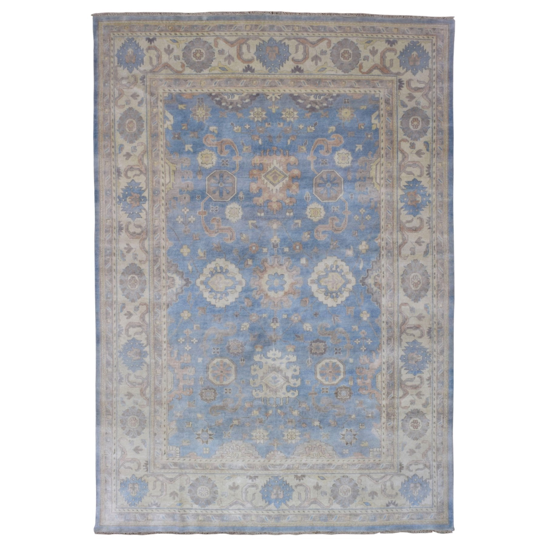 FineRugCollection Handmade Oushak Blue Wool Oriental Rug ...