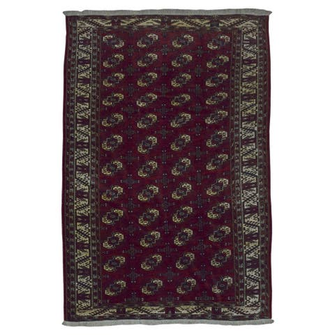 FineRugCollection Handmade Bukhara Red Wool Oriental Rug