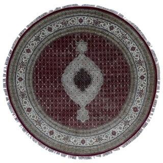 FineRugCollection Handmade Fine Mahi Tabriz Red Wool and Silk Round Rug - 8'2 x 8'2