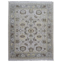 FineRugCollection Handmade Oushak Grey Wool Oriental Rug - 9'3 x 11'7