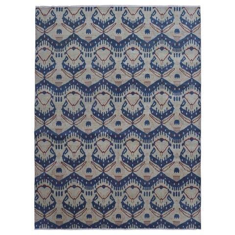 FineRugCollection Handmade Oushak Beige Turkish Knot Wool Oriental Rug