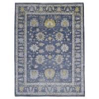 FineRugCollection Handmade Oushak Blue Wool Oriental Rug - 9'1 x 11'9