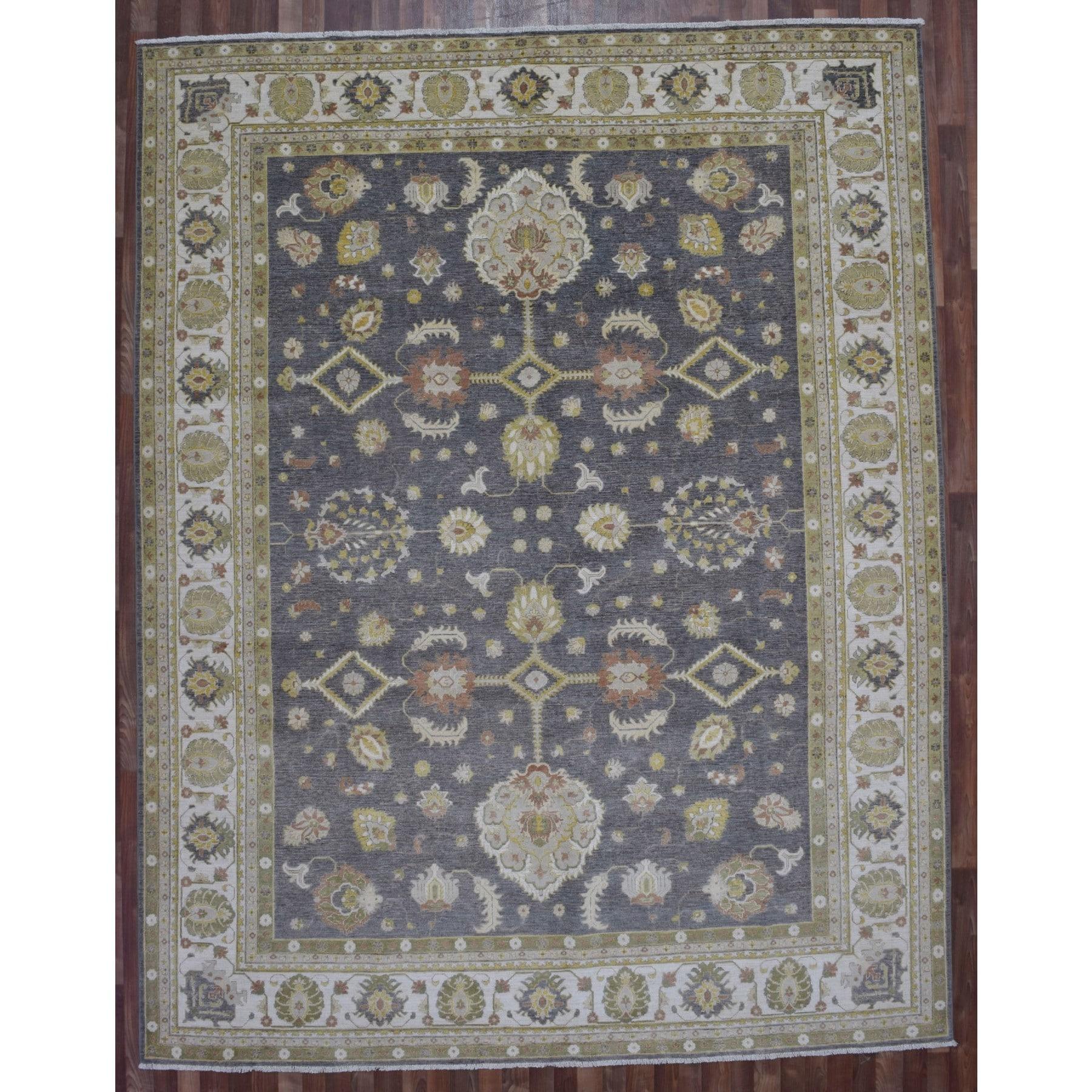 Finerugcollection Handmade Fine Peshawar Grey Wool Oriental Rug