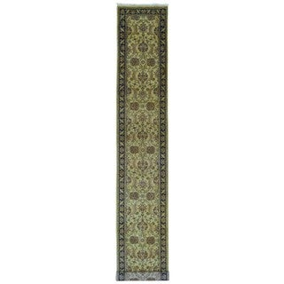 FineRugCollection Handmade Fine Jaipur Gold Wool Runner Rug (2'6 x 15'9)