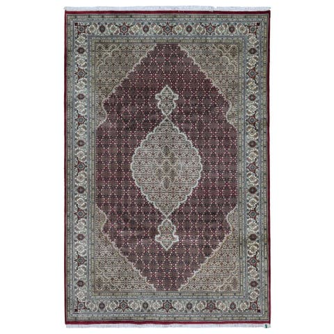 FineRugCollection Handmade Fine Mahi Tabriz Beige Wool and Silk Oriental Rug