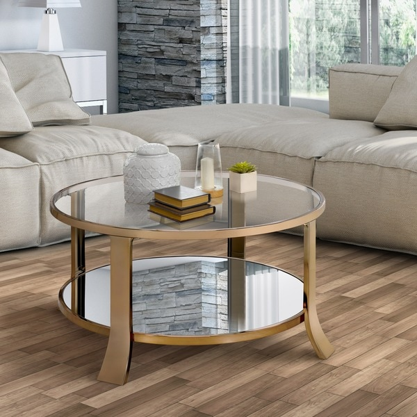 Furniture Of America Laya Contemporary Glam Champagne Tempered Glass Coffee  Table
