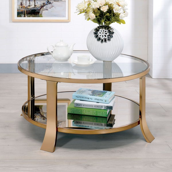 Furniture of America Laya Contemporary Glam Champagne Tempered Glass Coffee  Table - Furniture Of America Laya Contemporary Glam Champagne Tempered