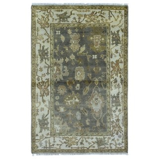 FineRugCollection Handmade Oushak Brown Wool Oriental Rug (4' x 6'1)