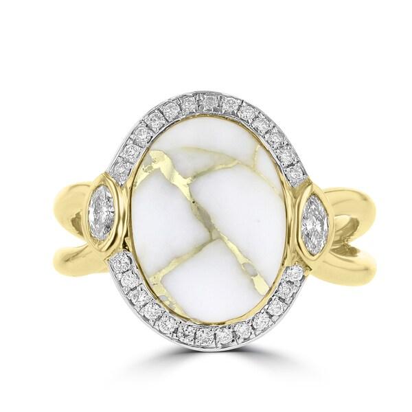 La Vita Vital 14k Yellow Gold 4 1/3ct Gold Quartz and 1/4ct TDW Diamond Ring TDW (G-H, SI1-VS)