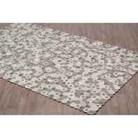 Handmade Scandinavian Swirl Ivory Grey Wool Rug (8' x 10')