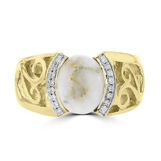 La Vita Vital 14k Yellow Gold 2 5/8ct Gold Quartz and Diamond Accent Ring (G-H, SI1-VS)