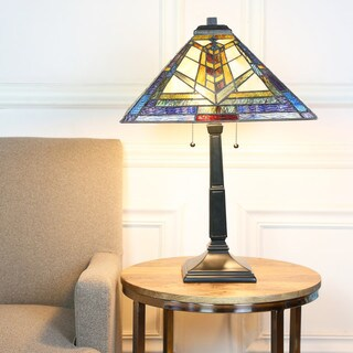 River of Goods Colors of a Kaleidoscope Stained Glass 23-inch Mission Style Table Lamp