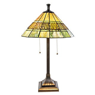 "26""H Craftsman Style Green Stained Glass Table Lamp with Filigree Detail"