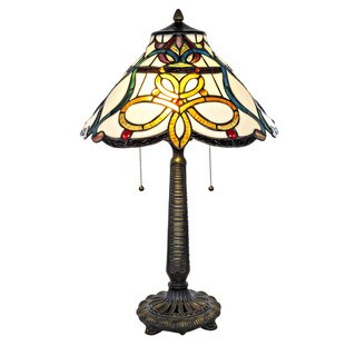 River of Goods Tiffany Style Stained Glass 25-inch Circular Knots Table Lamp