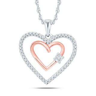 10k Two Tone Rose and White Gold 1/6ct TDW Diamond Double Heart Pendant (H-I, I1-I2)