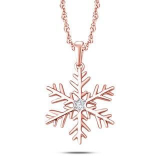 10k Rose Gold Diamond Accent Snowflake Pendant (H-I, I1-I2) - Pink