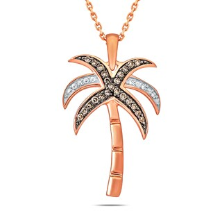 Cali Trove 10k Rose Gold 1 6 Ct TDW Diamond Coconut Tree Pendant Pink