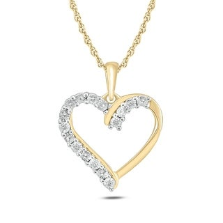 Yellow Gold Plated Sterling Silver Diamond Accent Heart Pendant (H-I, I1-I2)