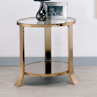Furniture of America Laya Contemporary Gold Metal Glass Top End Table