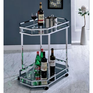 Furniture of America Cristine Contemporary Glam 2-shelf Chrome Serving Cart