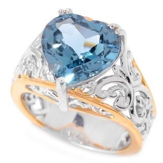 Michael Valitutti Palladium Silver Heart Shaped London Blue Topaz Solitaire Ring
