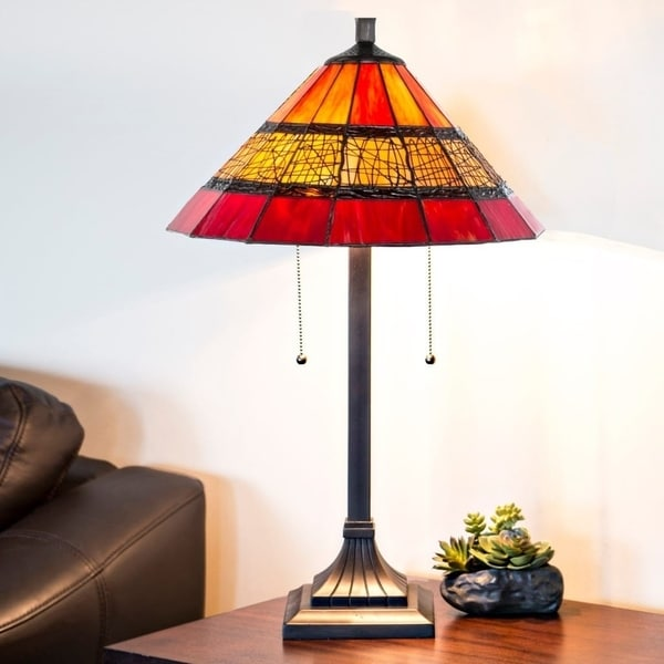 "26""H Craftsman Style Stained Glass Red Table Lamp with Filigree Detail"
