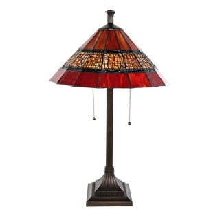 """26""""H Craftsman Style Stained Glass Red Table Lamp with Filigree Detail"""