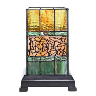 "9.63""H Craftsman Style Stained Glass Hurricane Uplight with Filigree Detail - Green"