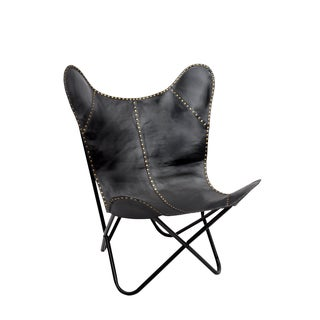 Safari Black Leather Riveted Butterfly Chair